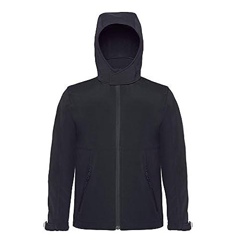 B&C Collection Hooded Softshell Kids Jacket Windproof and Waterproof Hanging Loop (5/6 - 30