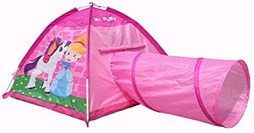 Mädchen Kinderspielzelt, Maße Zelt ca.: 112 x 112 x 94 cm, Maße Tunnel ca.: 46 x 90 cm, Mädchen Kinderzelt mit Tunnel, Spielhöhle, faltbares Zelt, für Drinnen und Draußen geeignet, Izzy Sport, rcee