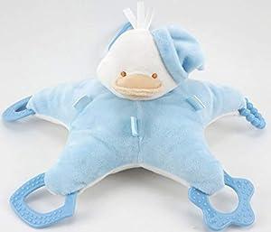 Duffi Baby- Peluche Patito y Mordedor, 100% Poliéster, Color Azul (Master Baby Home, S.L. 0767-12)