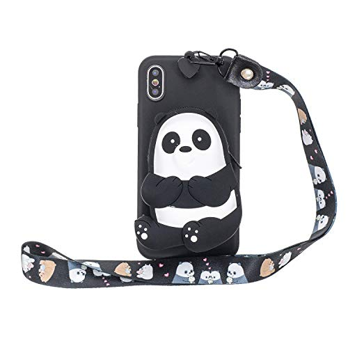 Miagon Silikon Hülle für iPhone XR,3D Süß Brieftasche Lager Tasche Design mit Halskette Kordel Schnur Handykette Necklace Band,Schwarz Bär
