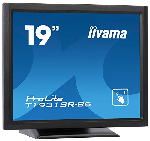 Iiyama Prolite T1931SR-B5 48 cm (19 Zoll) LED-Monitor Sxga Single Touch Resisitiv (VGA, HDMI, DisplayPort, USB für Touch, IP54) Schwarz (Zoll 19 Led-monitor)