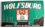 Fahne / Flagge Wolfsburg 3 - meine Stadt mein Verein + gratis Sticker, Flaggenfritze®