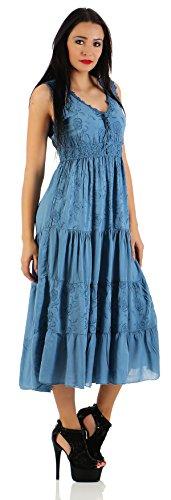 ZARMEXX Fashion - Robe - Taille empire - Sans Manche - Femme Taille Unique Bleu Jeans