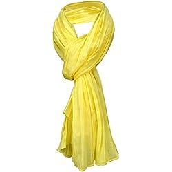 TigerTie bufanda gecrasht en amarillo brillante monocromo - tamaño 160 x 70 cm