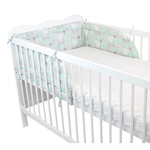 Baby-Nestchen-Babybett-70x140-Kopfumrandung-Nest-Kopfschutz-Bettnestchen-Unifarben-Motive-Farbe-Herzen-Grau-Gre-210x30cm-fr-Babybett-140x70