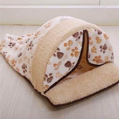 Guojiahao Cat Warm Sleeping Cushion Bed House Rutschfester Hüttenkorb Kennel Sofa Waschbar Mattenbeutel Cartoon Little Dog Kennel, m, weiß -