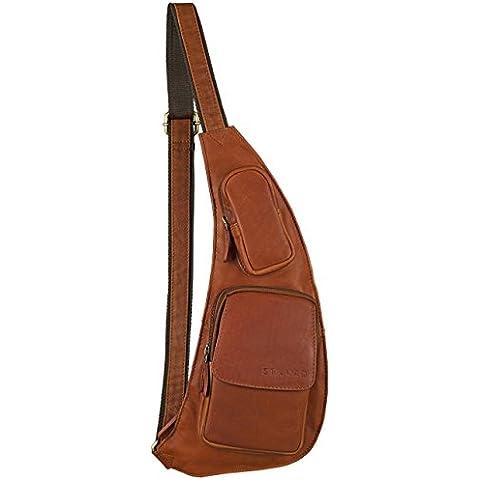 STILORD 'Adrian' bolso pecho bolso bandolera riñonera Bolso de piel Vintage estilo retro Bolsos de viaje hombres marrón cognac