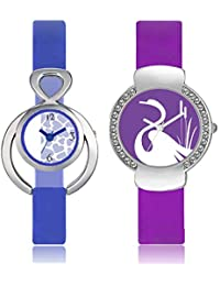 The Shopoholic Blue And Purple Watch For Women/Girls (Set Of 2)