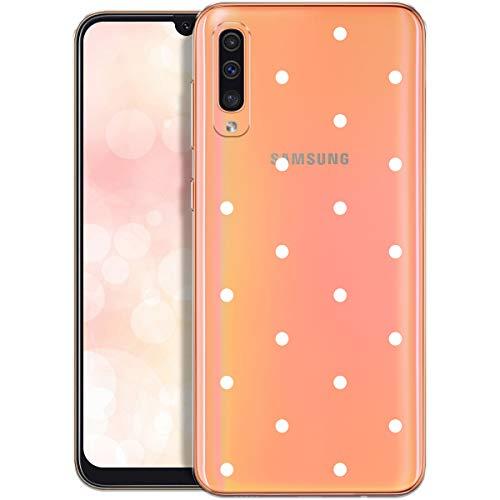 OOH!COLOR Handyhülle kompatibel mit Samsung Galaxy A50 Hülle Silikon transparent Ultra dünn Schutzhülle durchsichtig Bumper Case für Samung A50 A505FN mit Motiv weiße Punkte (EINWEG)