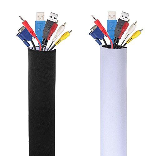AGPTek Kabelkanal Neopren mit Klettverschluss, 1.5m, Schwarz und Weiss