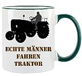 """"""" Echte Männer fahren Traktor """" Kaffeetasse mit Motiv, bedruckte Tasse mit Sprüchen oder Bildern"""