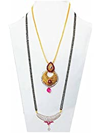 Bling N Beads American Diamond Mangalsutra And Gold Plated Necklace Set Combo For Women