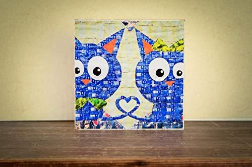 Herz Katzen mit Herz verbunden Liebe Foto auf Holz, im Quadrat, 13x13, Graffiti handmade Holzbild Wandbild Holzdeko Holzdeko Dekoration Geschenk Mitbringsel Geschenkidee echter Fotodruck (Locker Dekorationen)