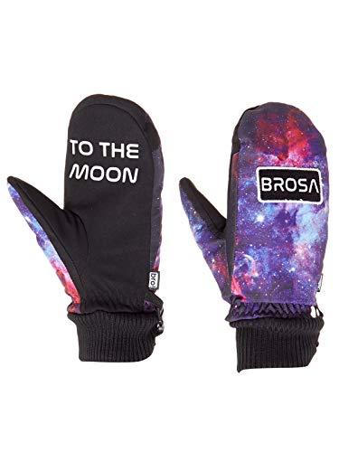 Bro Galaxy Schwarz Send It to The Moon Snowboard Fäustlinge (S/M, Schwarz) (Galaxy Snowboard Handschuhe)