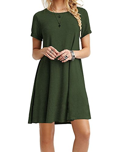iPretty damen kurzarm Casual lose T-Shirt Kleid,grün,44 (Kleid Shirt Grünes)