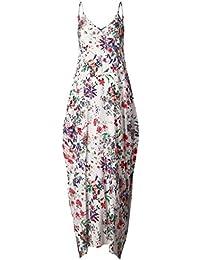 vovotrade Mujeres Nuevo caliente sin mangas V cuello de impresión de flores Maxi vestido largo