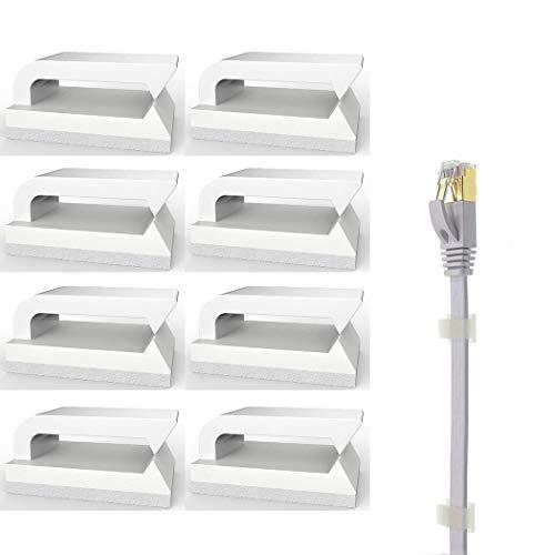 3 Stück Glas-schreibtisch (Selbstklebend Kabelclips (Weiß 50-Stück) Kabelhalter für Flachkabel Ethernet, Eiito Kabelbefestigung Drahthalter Kabelschellen Kabelklemme)