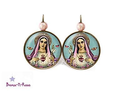 Boucles d'oreilles La vierge aux fleurs cabochon bronze bijoux marie cadeau dormeuses