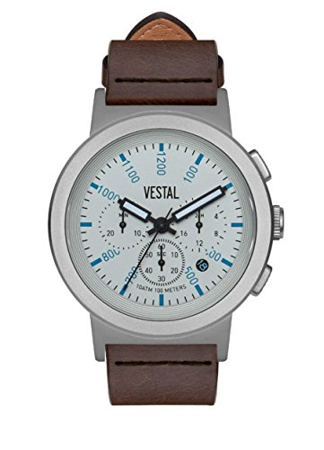 Vestal Reloj de cuarzo de acero inoxidable y cuero, color: marrón (modelo: SLR44CL04.DBNK)