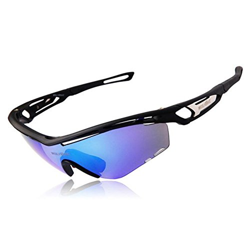 oeste bicicleta de montaña deportes al aire libre Protección UV400Ciclismo Gafas de sol polarizadas con 3lentes intercambiables para equitación, conducción cortavientos, Pesca, Senderismo Gafas de sol