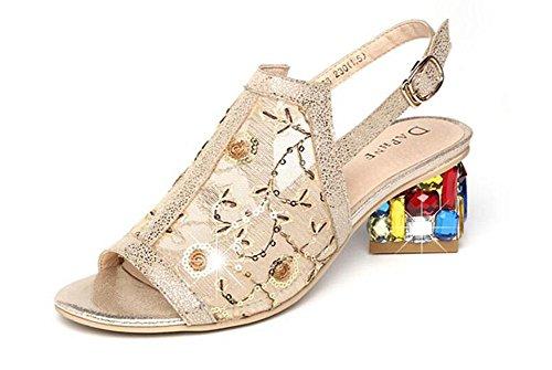 GLTER Donne Pompe Peep Toe In Pelle Sandali Vuoti Laccio Dietro Crystalcrystalline Garza Mid Heel Shoes Romani Charme Oro Bianco Nero 36