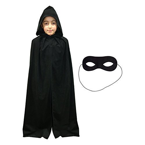 Kinder-schwarz Superhelden Umhang & Augen Maske (WELTTAG DES (Welttag Des Kostüme Buches Uk)