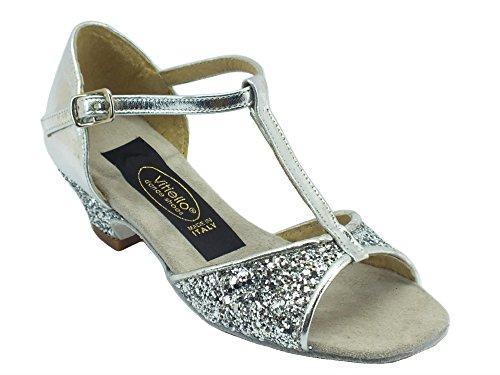 Scarpe da ballo per bambina latino americano in capretto e cristallo colore argento (Taglia 32)