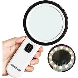 CGBOOM Lupa LED con luz, 30 lupas de Mano con 12 Leds, Lupa iluminada, Lupa de Lectura, Lupa para Libros, periódicos, mapas, Monedas, Joyas, Hobbies Antiguos.