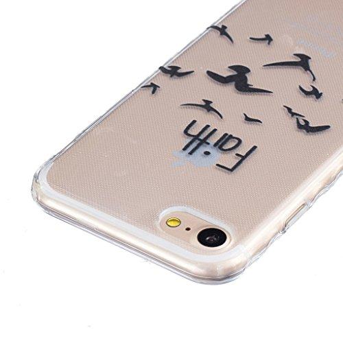 """Trumpshop Smartphone Case Coque Housse Etui de Protection pour Apple iPhone 7 Plus 5.5"""" + Don't Touch My Phone (couteau) + Flexible Ultra Mince Silicone TPU Gel avec Absorption de Choc Faith"""