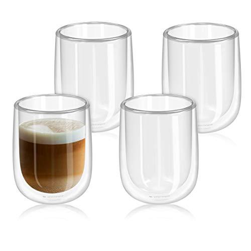 Navaris Set de 4 Vasos de Doble Cristal - Taza de 450ml de Doble Pared Resistente al Calor - para café te Helado Bebidas Calientes frías o postres