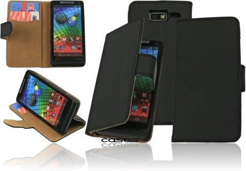 Alternate Cases Premium Book Case Tasche schwarz für das Motorola RAZR I XT890 Etui Schutzhülle Flip Cover Wallet Case mit Standfunktion und integriertem Displayschutz - EC-/Kreditkartenfächer - alle Aussparungen vorhanden - idealer Rundumschutz - schwarz / black - Bi-Color