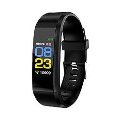 Nicerio Id115plus Smart Bracelet Smart Band Blood Pressure Heart Rate Monitor Fitness Tracker Smart Watch Ip67 Waterproof Pedometer Bluetooth Wristband (Black)