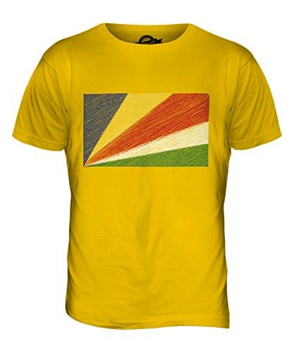 CandyMix Seychellen Kritzelte Flagge Herren T Shirt Dunkelgelb