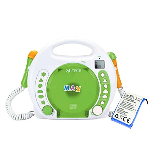 X4-TECH Bobby Joey Kinder MP3-CD-Player mit Akku grün + Zweit-Akku