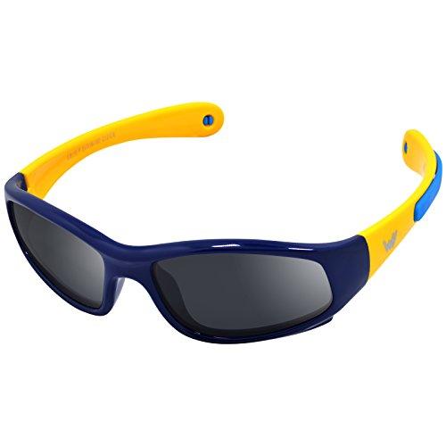 Kinder Wrap Sport Polarisierte Sonnenbrille von WHCREAT Flexibel Gummirahmen mit Anti-Rutsch Band für Mädchen Jungen Alter 3-6 - Dunkelblau Gelb Rahmen Schwarz Linse