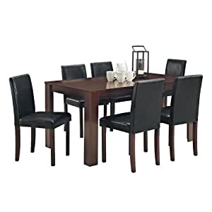 Dining Table and 6 Chairs with Faux Leather Dark Walnut Furniture Room Set