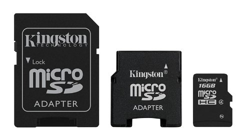 Galleria fotografica Kingston SDC4/16GB-2ADP Scheda microSDHC, Classe 4, 16 GB