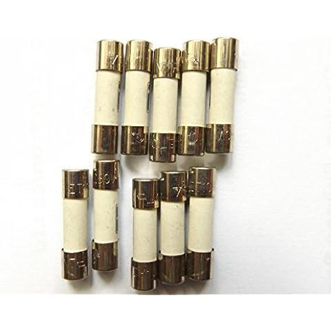 Fusible 10 A 20 mm/HBC contra sobretensiones retardo de tiempo T10A H 250 V cerámica x10pcs