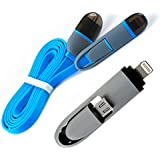 [i!]® 1m [2in1] Flachband Kombi USB Ladekabel/Datenkabel (MicroUSB + iPhone) kompatibel mit [Universal, Handy, Smartphone, Tablet, Apple iPhone 7/7Plus6/6 Plus/6S/6S Plus/5/5C/5S/SE, Samsung Galaxy S2/S3/S4/S5/S6/S6 Edge/S7/Tab 3/Note 2/3/4, HTC One, Google LG Nexus 4/5/6/7, NOKIA LUMIA, Sony Xperia, und viele mehr...] blau