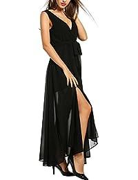 Meaneor Vestidos Largos de Fiesta Gasa Mujer Cuello V de Verano sin Mangas con Cinturón