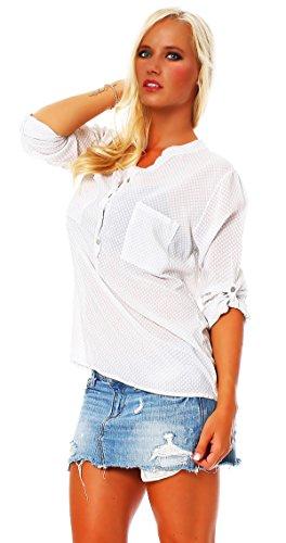 Moda Italie chemise de pêche à long manche de chemise de Viskosebluse amende régulière dété de lumière en forme blouse tunique Blanc