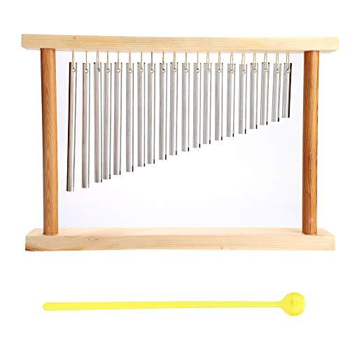 Carillon 20tonos diferentes instrumento de percusión Tubo de aluminio carillón plata con soporte de madera y vara instrumento intéressant para niños