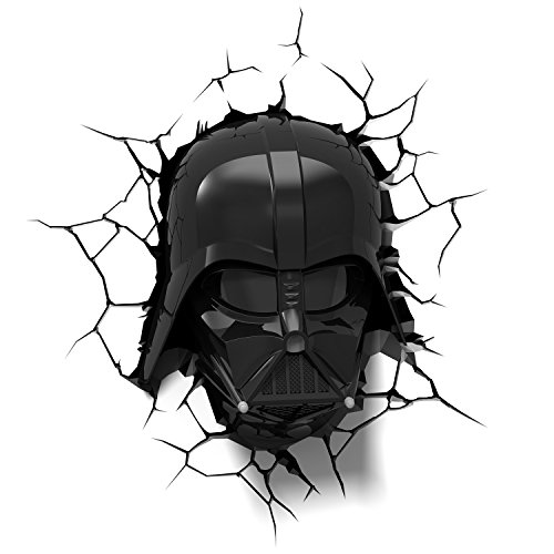 3d light fx 3dfx-02058 star wars ep7 darth vader face lampada led con timer, plastica, bianco/nero, 27 x 14.5 x 32 cm