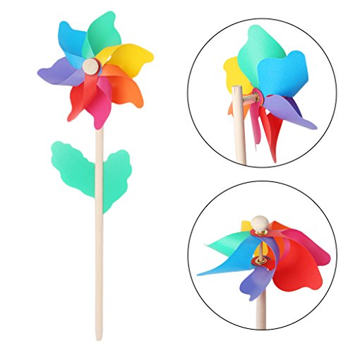 wiffe Windmühle Kid Spielzeug Holz Stick Rasen Yard Garten Ornaments Colorful Outdoor Spinner