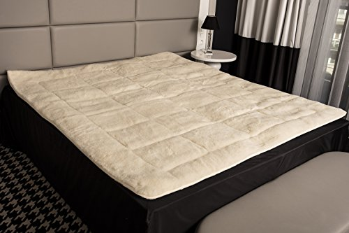 Matratzenauflage Lammflor 100% Merino-Schafschurwolle Natur-Topper 200x200 Beige-Weiß (Wolle-matratze-auflage)