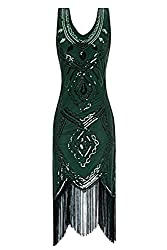 Metme Women's 1920s Inspired Classic V Neck Sleeveless Beaded Sequin Gatsby Dress For Prom