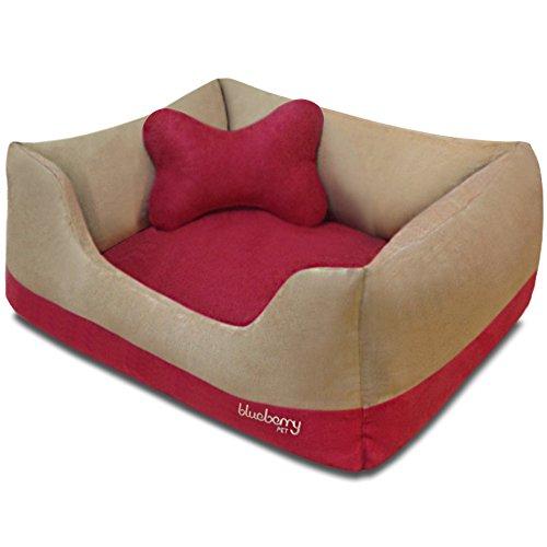 Blueberry Pet Robustes Haustierbett, Design: Blockfarben (Microsuede-sofa-bett)