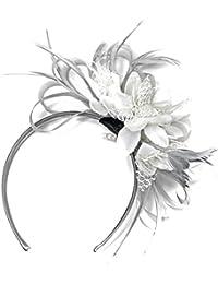 Tocado para boda con velo y plumas, color gris plateado y blanco, para las carreras Royal Ascot.