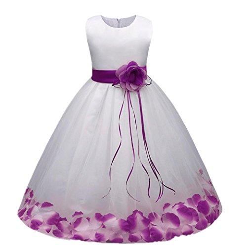Mädchen Kleider Festlich Kleider Longra Blumenmädchenkleider Hochzeitskleid Maxikleid Brautjungfern Kleid Prinzessin Abendkleid Party Maxi Kleid Spitze Festzug Cocktailkleid (Purple, 110CM 3Jahre)