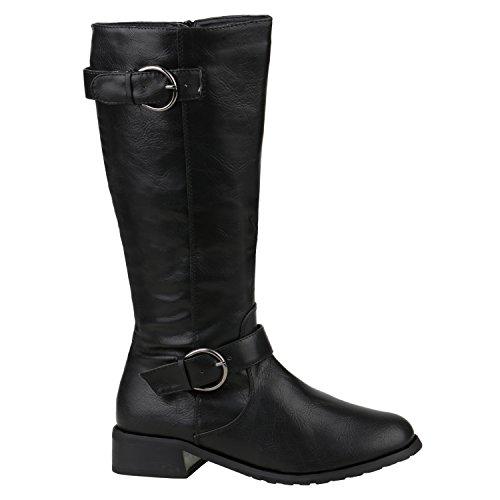 Gefütterte Damen Schuhe Stiefel Klassische Langschaft Boots 157019 Schwarz Berkley 39 Flandell